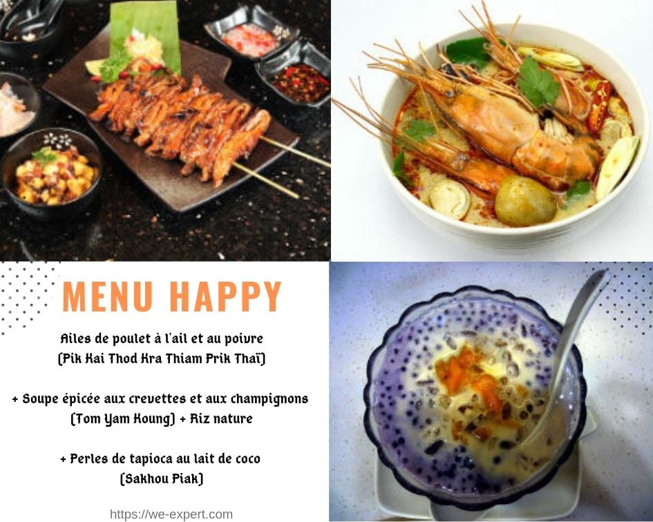 menus plat thai, menu plats thais, menu cuisine thai