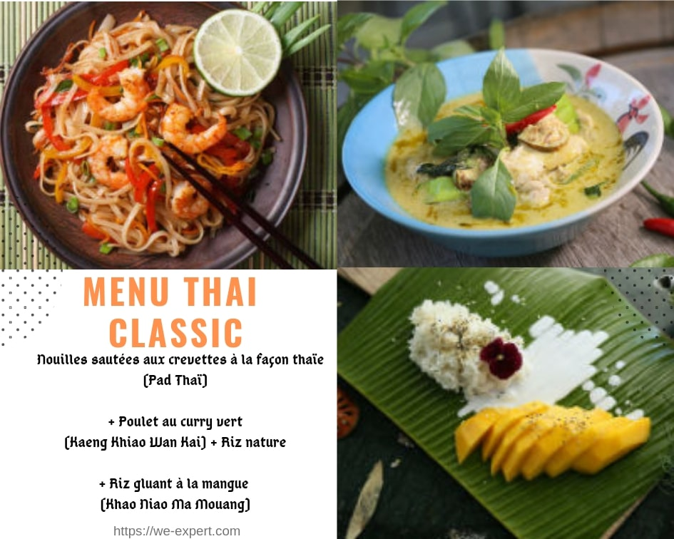 menu cuisine thaïe, menu thai simple